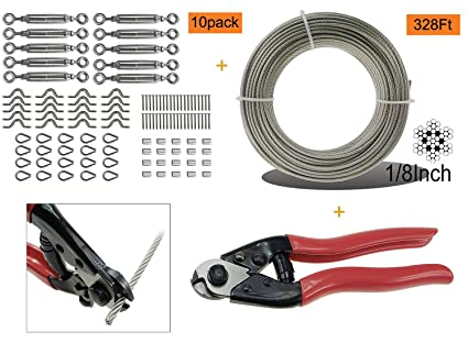 Cable Railing Kit Set, with 328Feet 1/8\