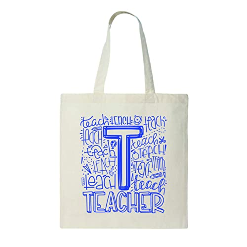 History Teacher Student Canvas Tote Choice of Print Color Great Gift 6oz Light Weight Natural Canvas