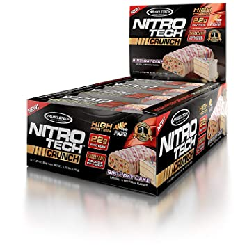 MuscleTech NitroTech Crunch Protein BarBirthday Cake 22 Grams 5 Of