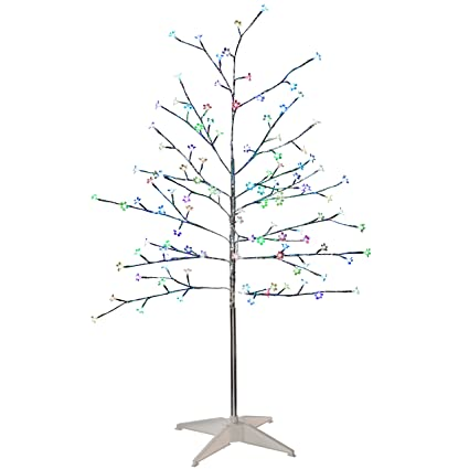 online retailer 5d1c9 bc298 WeRChristmas Pre-Lit Flower LED Twig Tree with Frosted Balls, 5 ft/1.5 m -  Multi-Colour