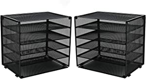 CLATINA 5-Tier Desk File Organizer with Metal Mesh Paper Letter Trays for Home Office 2 Pack