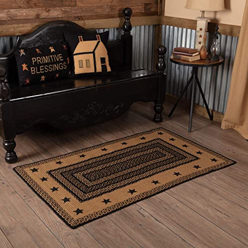 VHC Brands 9809 Classic Country Primitive Flooring-Farmhouse Jute Black Stenciled Stars Rug, 36 x 60, Starss