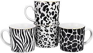 Bruntmor Set of 4 Bone China Animal Print Safari Designs Novelty Mugs, Funny Mug Gift Set - Him And Her Gifts -Holiday or Birthday Present, 13 Oz.