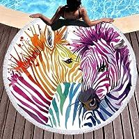 "Sleepwish Zebra Rainbow Large Round Beach People Round Towel Blanket Circle Table Cover Beach Throw Tapestry (Zebra Watercolor Art, 60"")"