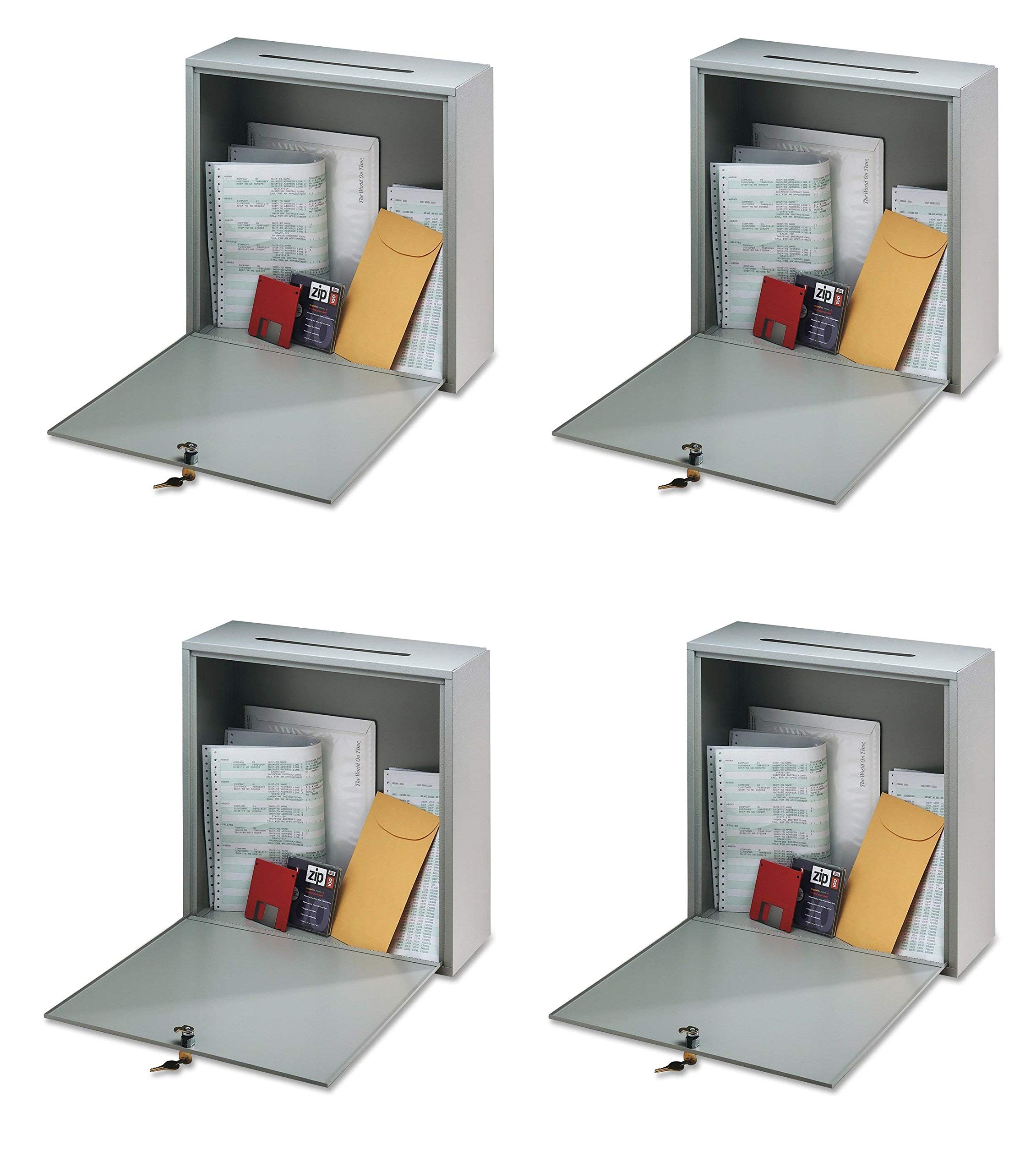 Buddy Products Inter-Office Mailbox, Steel, Small, 3 x 10 x 12 Inches, Platinum (5625-32) (Pack of 4) by Buddy Products (Image #1)