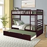 Merax Twin Over Twin Bed Bunk Bed with Safety Rail, Ladder, Trundle Solid Wood Bunk Beds for Kids, Teens Bedroom Bunk…