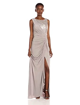 5923ac7076980 Adrianna Papell Women s Sleeveless Sequin Lace Shirred Jersey Gown ...