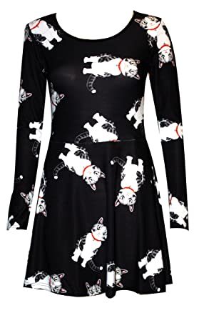 55d52fc6c29 Cute Cats Long Sleeve Fit   Flared Skater Dress  Amazon.co.uk  Clothing