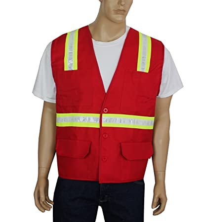 02442f5917ae58 Safety Depot Safety Vest Professional Style 6 Pocket with Pen Dividers Hi  Vis Reflective Button Down