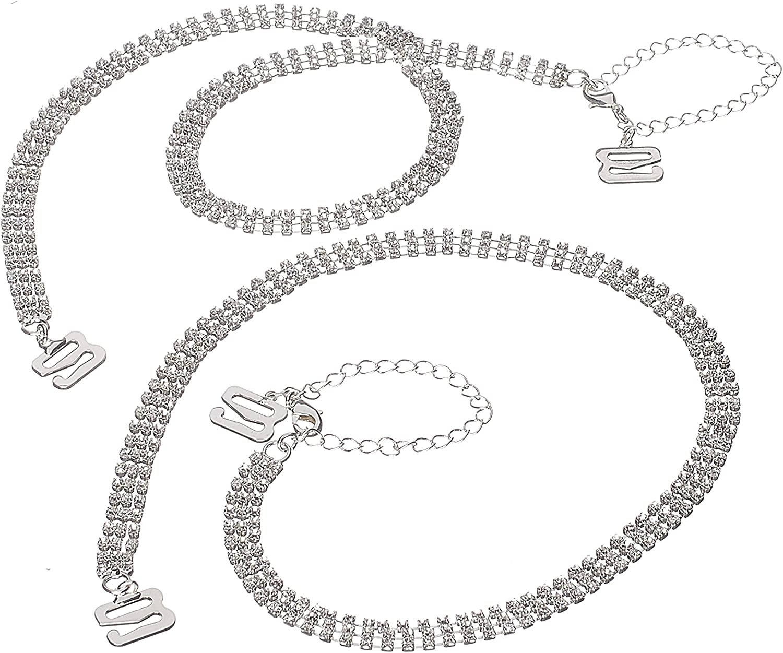 Rhinestone Removable Crystal Silver Bra Straps