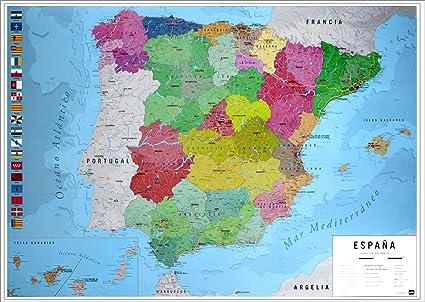 Close Up Póster Mapa Físico Político de España (91,5cm x 61cm) + 2 Marcos Negros para póster con suspención: Amazon.es: Hogar