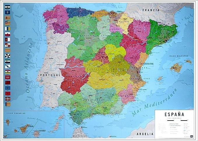 Close Up Póster Mapa Físico Político de España (91,5cm x 61cm) + 1 Paquete de tesa Powerstrips® (20 Tiras): Amazon.es: Hogar