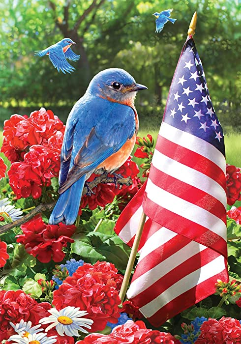 Bluebird Salute - Garden Size, 12 Inch X 18 Inch, Decorative Double Sided Licensed, Trademarked and Copyrighted Flag Printed IN USA by Custom Decor Inc.