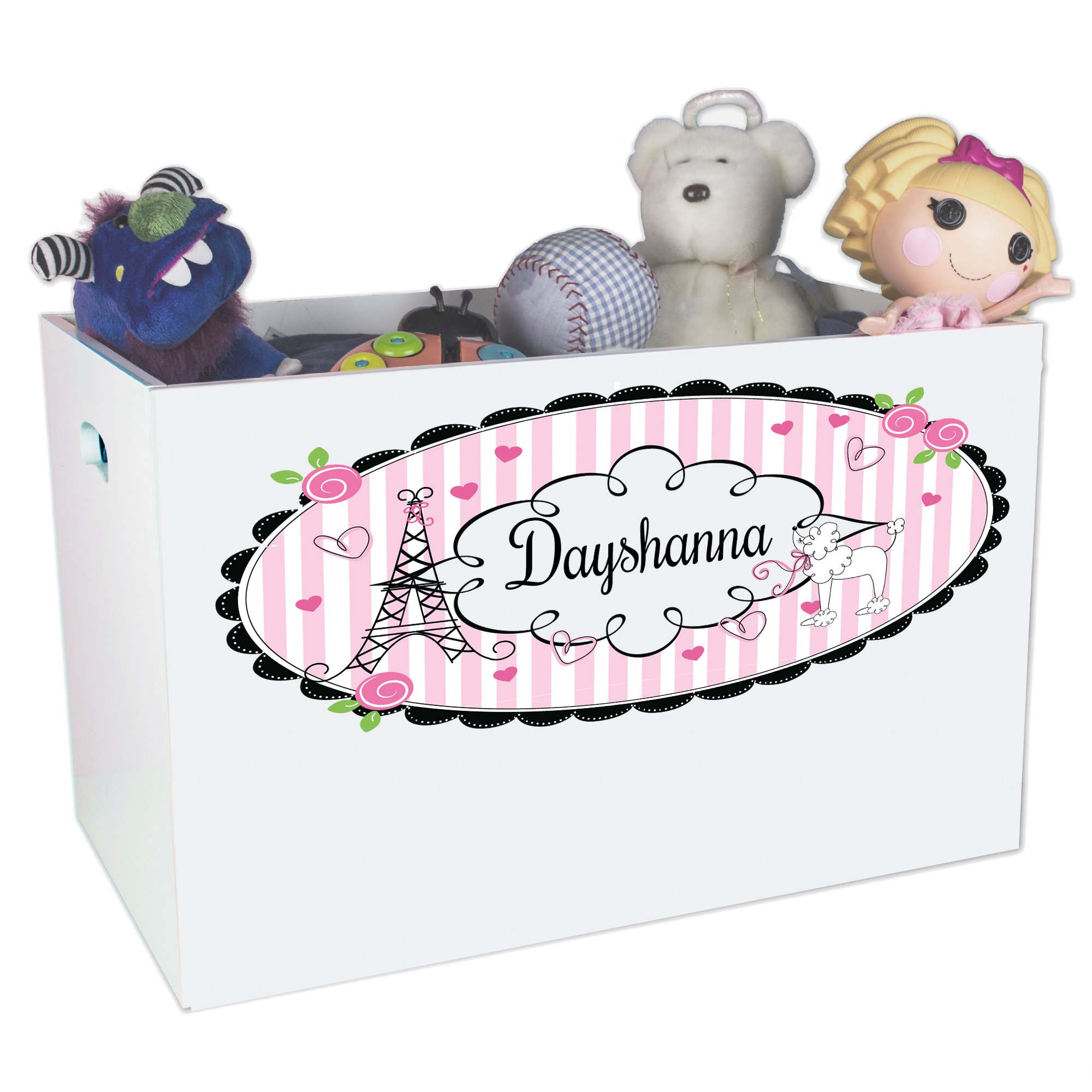 Personalized Paris Childrens Nursery White Open Toy Box