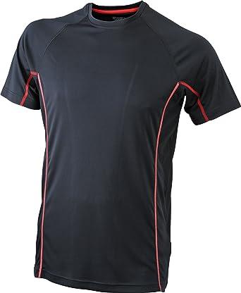8383508549cfc5 James   Nicholson Herren Kurzarmshirt Running Reflex-T schwarz (black red)  Small