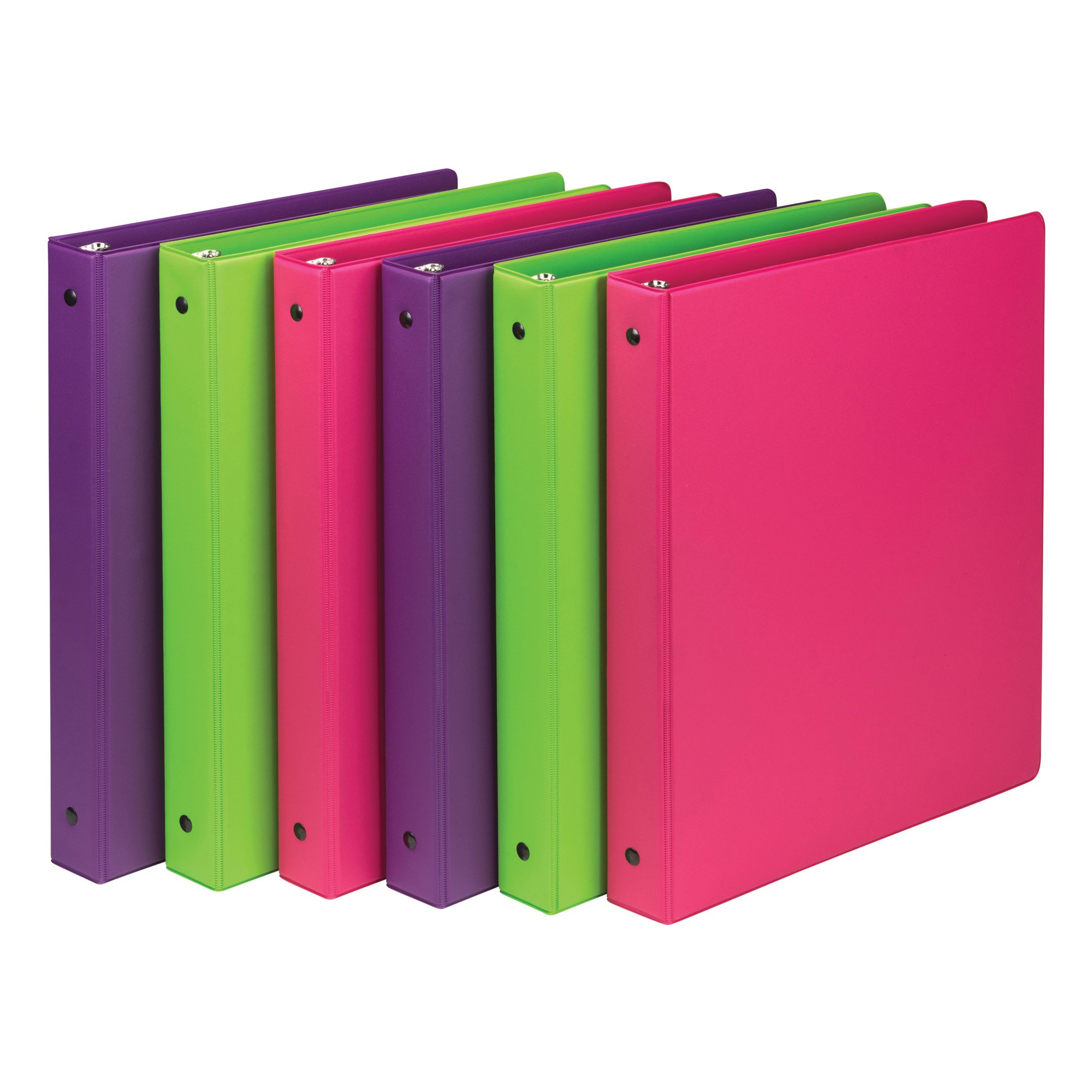 Samsill 1 Inch Round Ring Binders in Fashion Colors, 6 Pack Bundle
