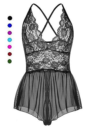 a092843a9 ALLureLove Womens Sexy Lingerie Open Crotch Leotard Teddy Nightwear Lace  Miniskirt Babydoll (Z-Black