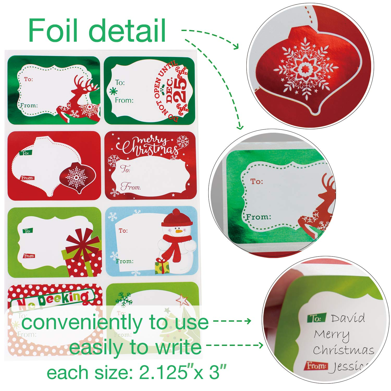Christmas Stickers.80 Count Foil Christmas Gift Tags Sticker 8 Jumbo Designs Xmas To From Christmas Stickers Name Tags Write On Labels Holiday Present Labels