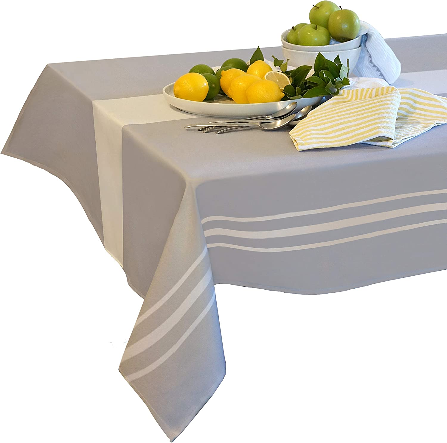 Tablecloth Rectangle 60x84 Grey and White Stripe Polyester Fabric for Indoor Outdoor Oval 6-8 Seater for Family Gatherings Celebrations Picnic Camping Washable Anti-Fading Wrinkle Free