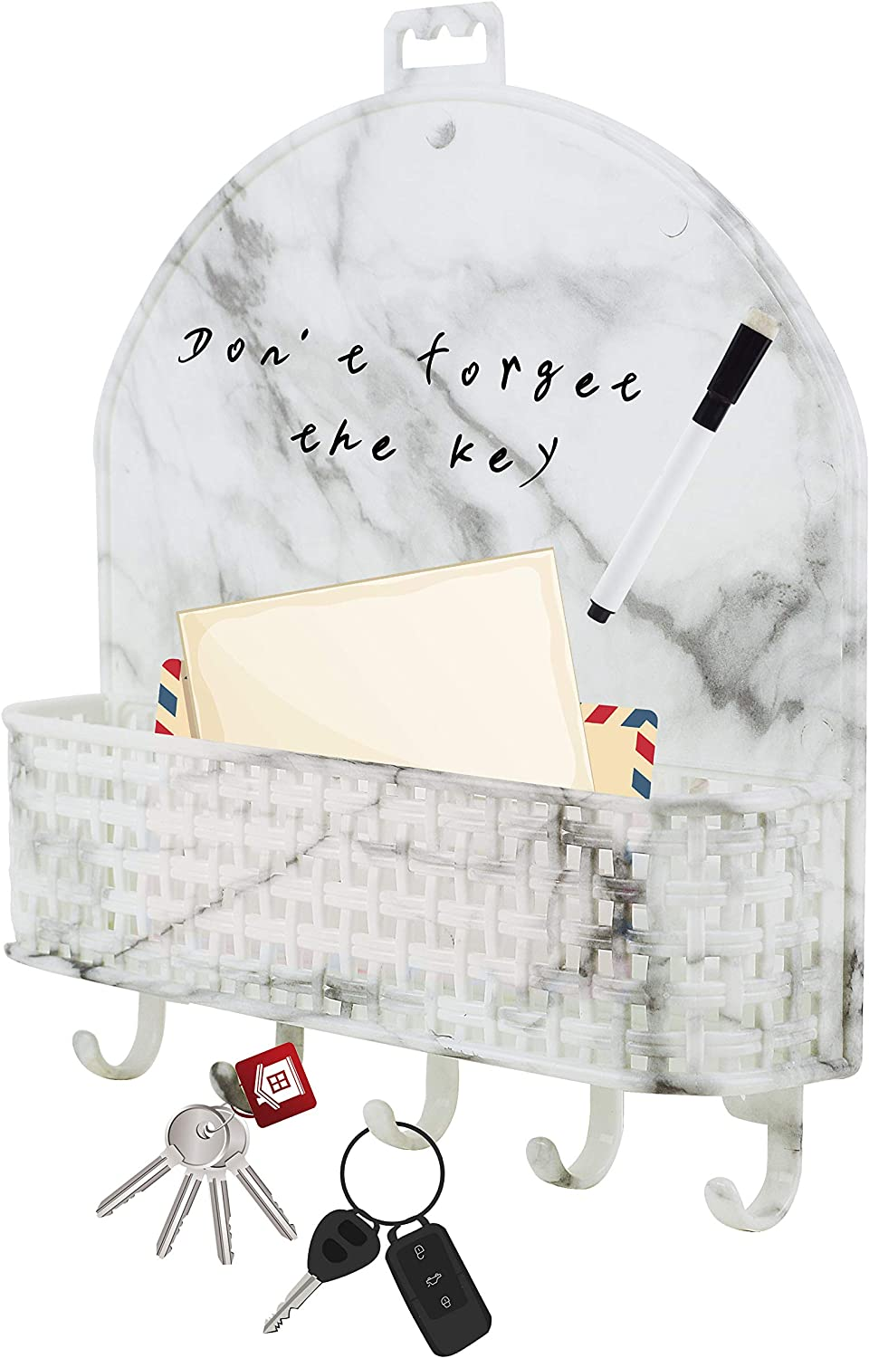Wall Mount Key Holder 5 Key Hooks for Home and Office. Self-Adhesive Letter Sorter with Dry Erase Board Marbling-1P Mail and Key Rack