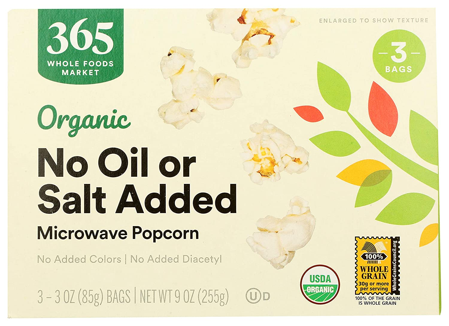 365 by Whole Foods Market, Organic Microwave Popcorn, No Oil or Salt Added (3 - 3.5oz Bags), 9 Ounce