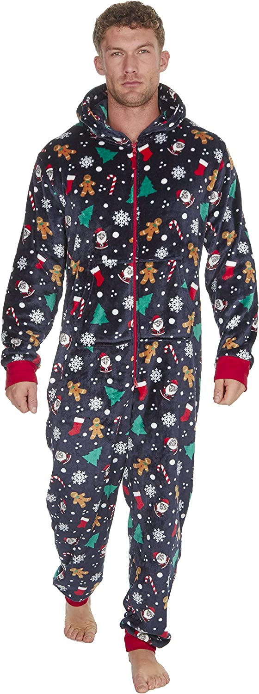 tuta intera da adulti in pile OneZee motivo festivo pigiama