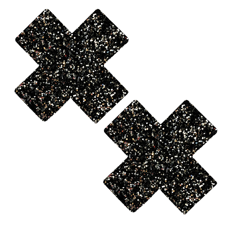 Neva Nude Super Sparkle Tinsel Town Black X Glitter Nipztix Pasties Nipple