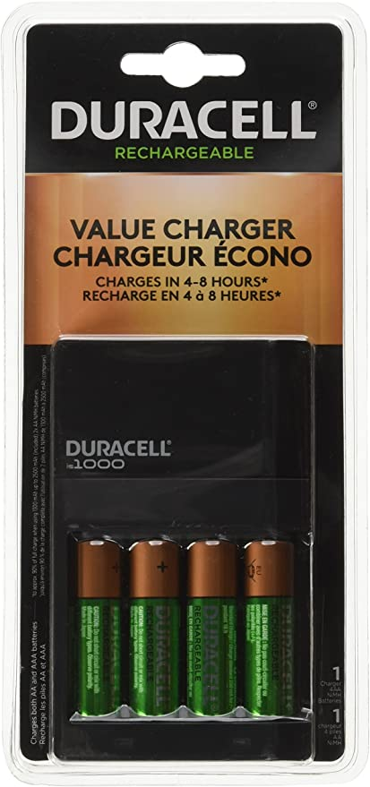 Duracell CEF27 Rechargeable Quick Charger with 4 Batteries AA AAA