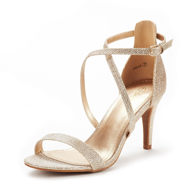 DREAM PAIRS Women's Dolce Gold Glitter Fashion Stilettos Open Toe Pump Heel Sandals Size 9 B(M) US