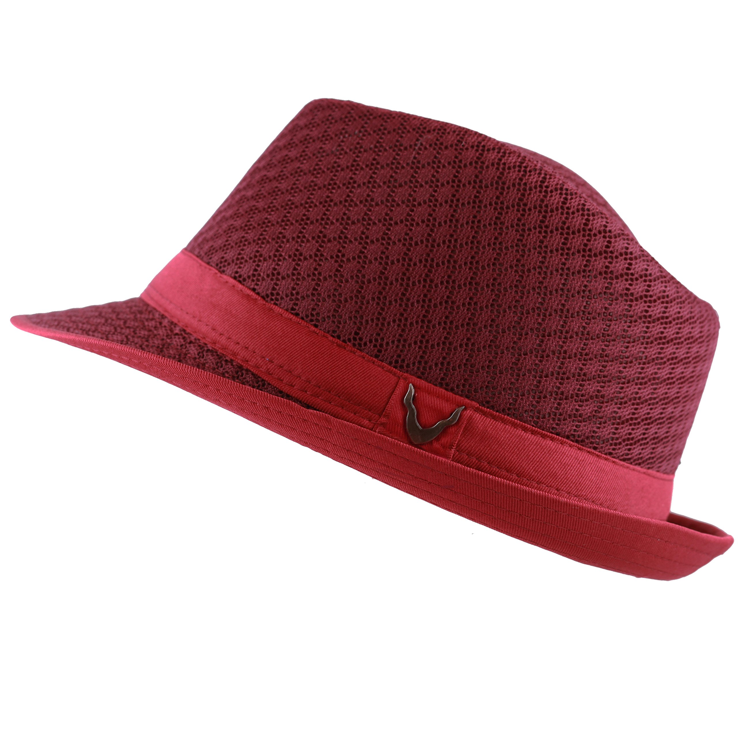 Black Horn Light Weight Classic Soft Cool Mesh Fedora hat (S/M, Burgundy)