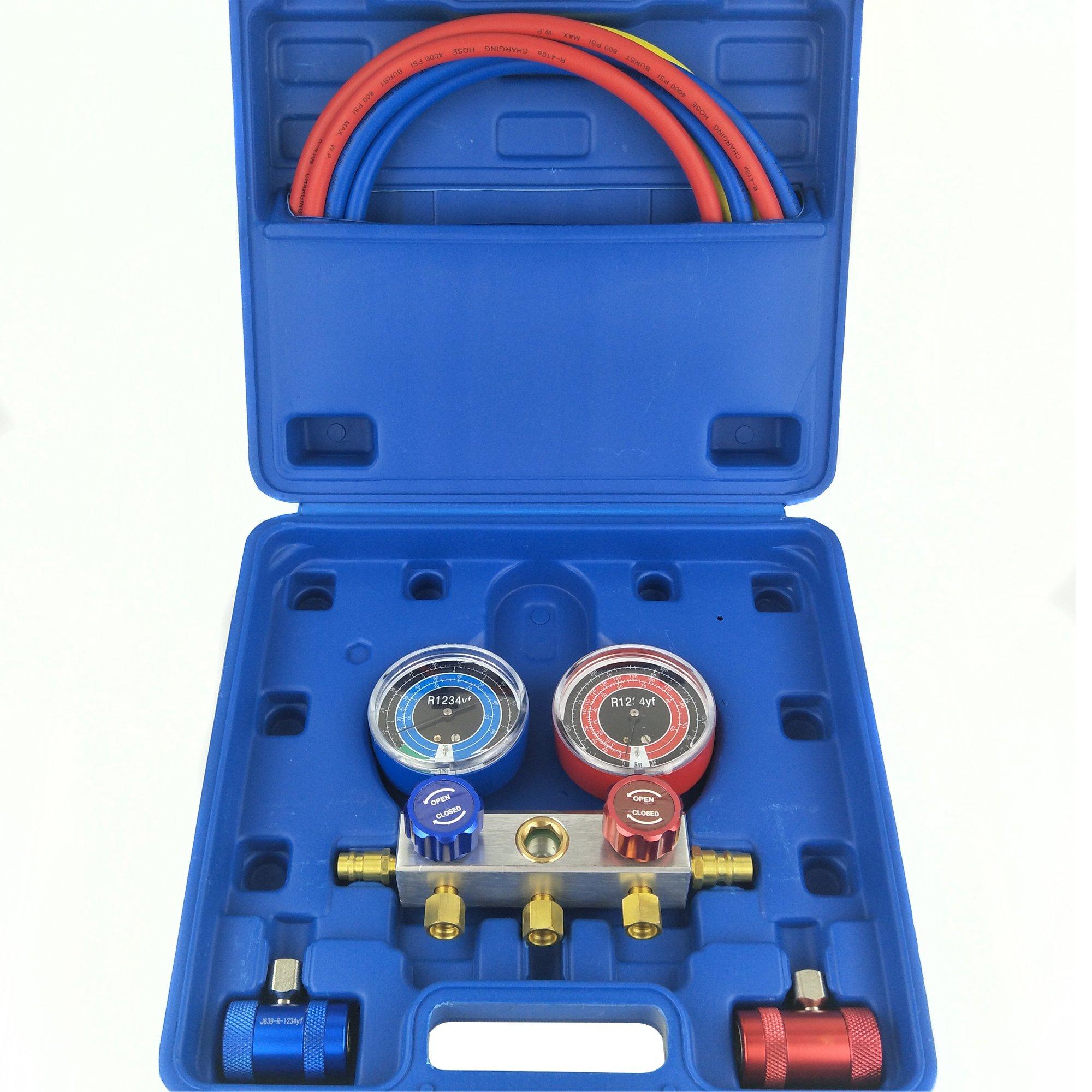 Wisepick AC Manifold Gauge Set R1234YF 3 Way HVAC Air Conditioning Refrigerant Diagnostic Tool Kit
