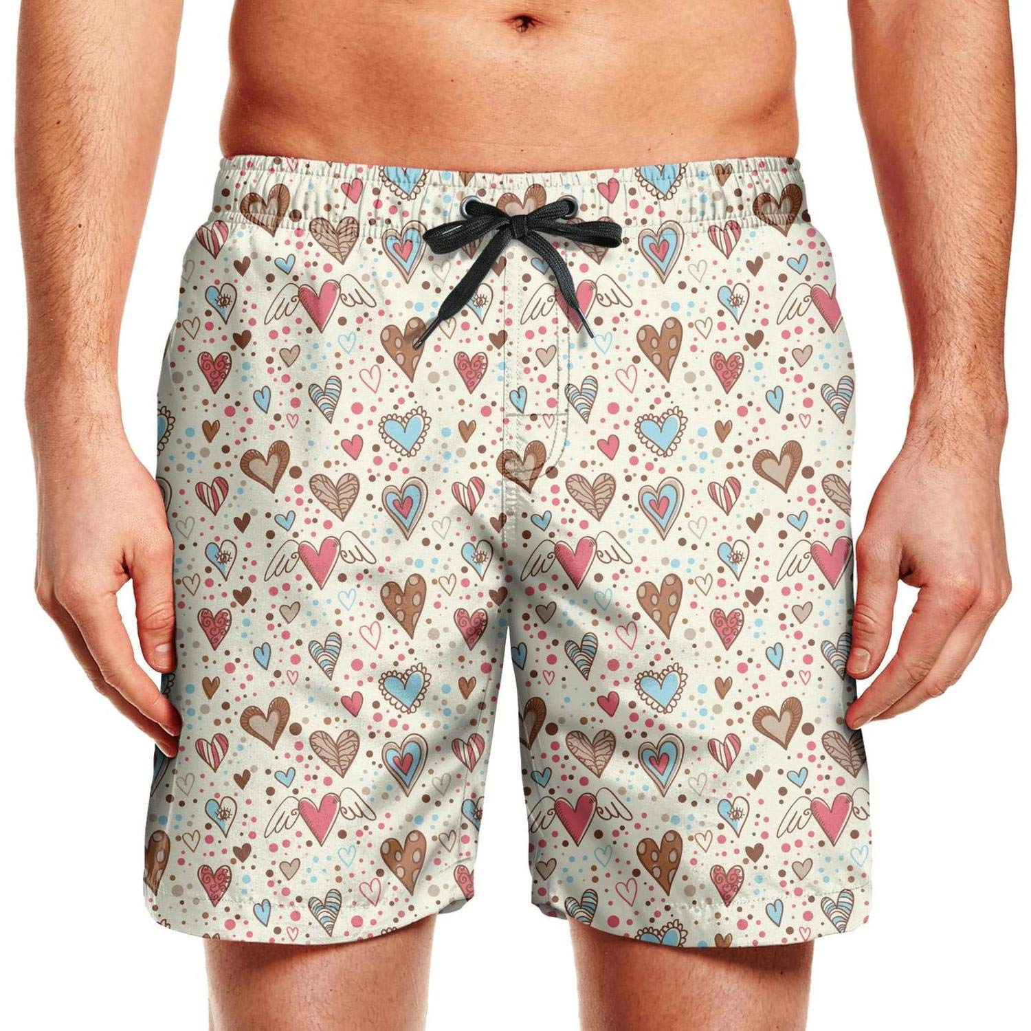 SYBING Love Angel Mens Funny Quick Dry Water Resistant Sports Running Beach Board Shorts
