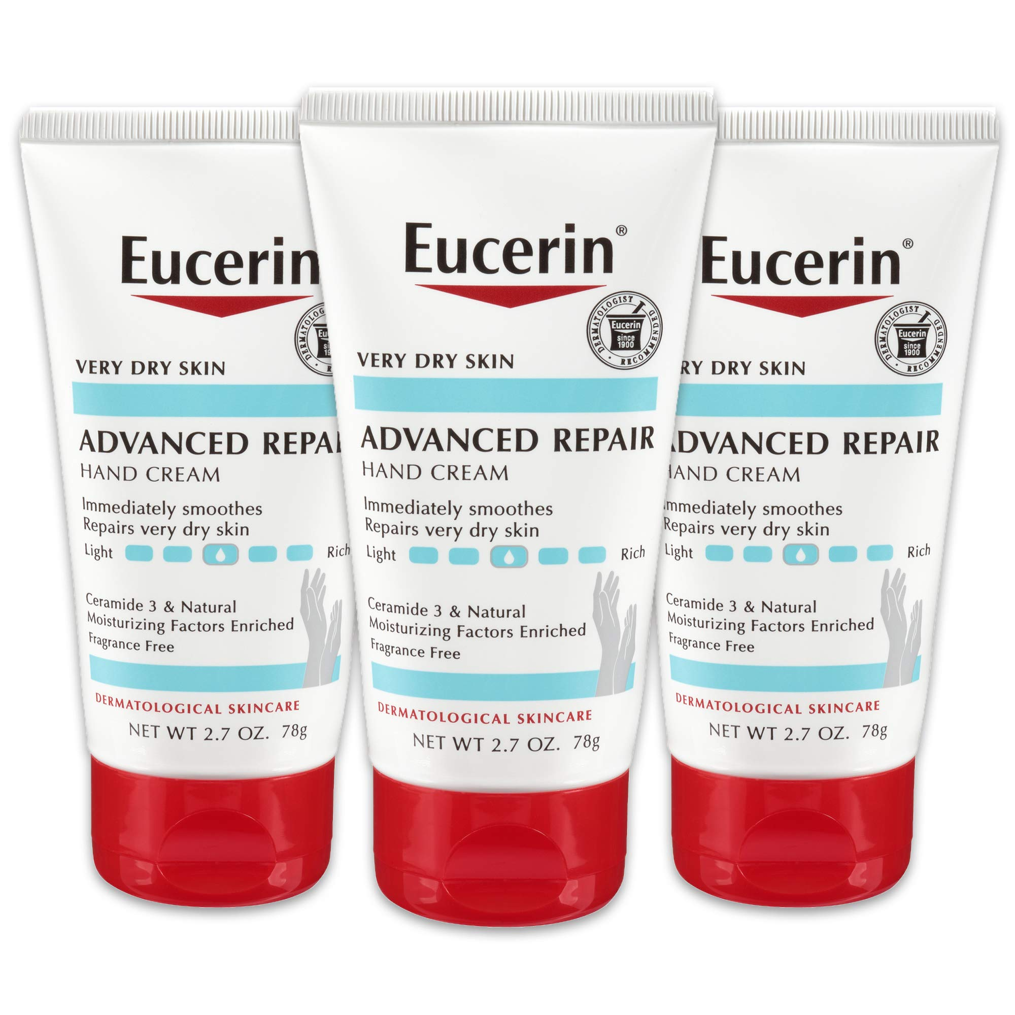 Eucerin Advanced Repair Hand Cream - Fragrance Free, Hand Lotion for Very Dry Skin - 2.7 oz Tube (Pack of 3) by Eucerin