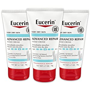 Eucerin Advanced Repair Hand Cream - Fragrance Free, Hand Lotion for Very Dry Skin - 2.7 oz Tube (Pack of 3)
