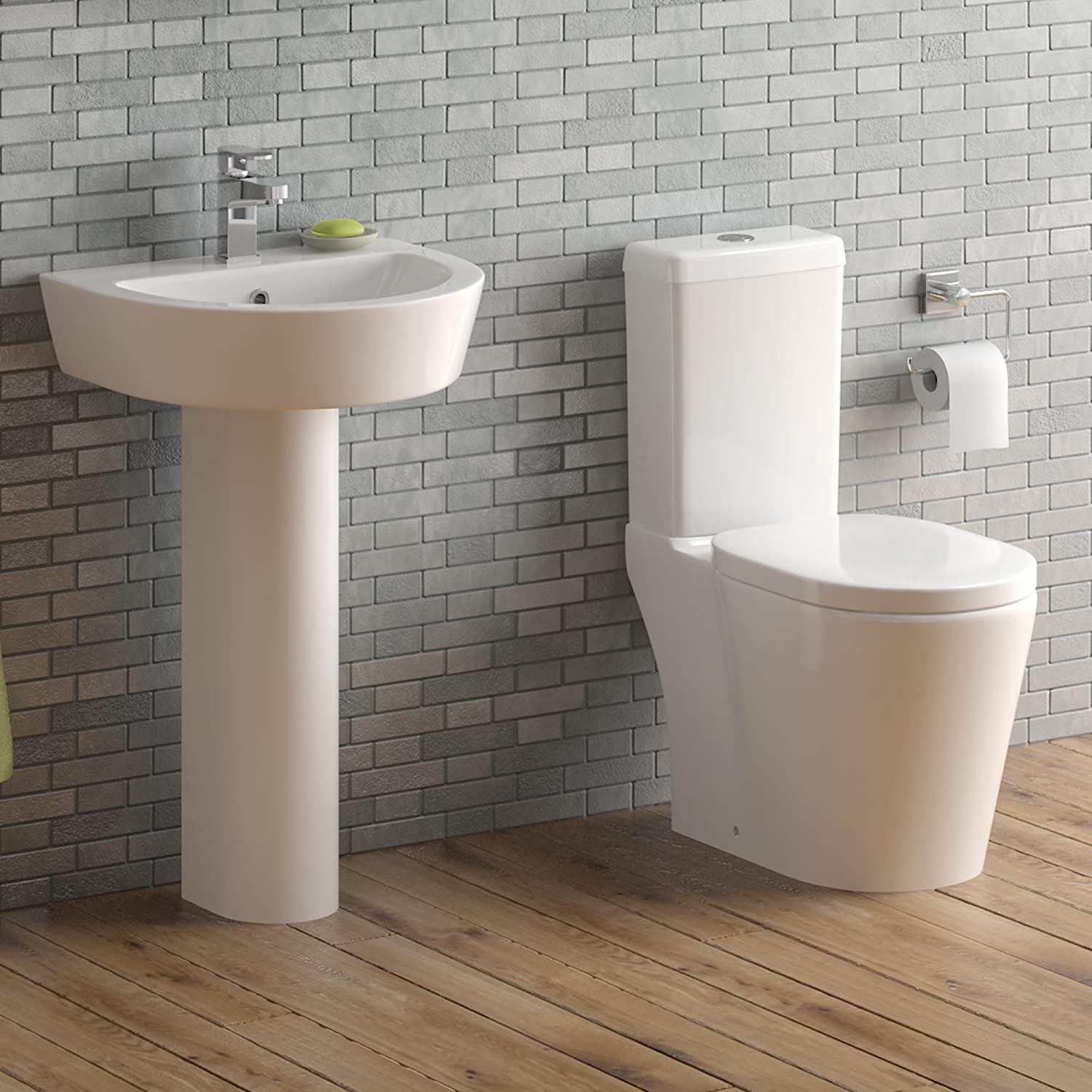 Modern White WC Toilet Cistern Set & Pedestal Basin Sink Bathroom ...