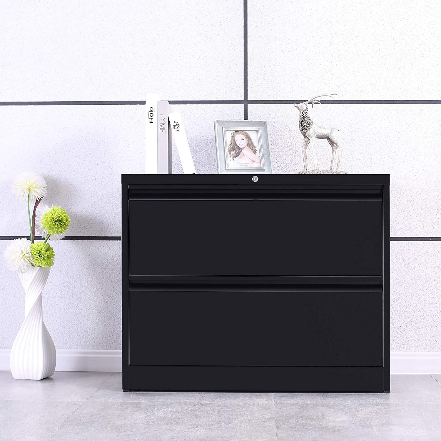 ModernLuxe Heavy-Duty Lateral File Cabinet Black, 3-Drawers:35.4W17.7D40.3H