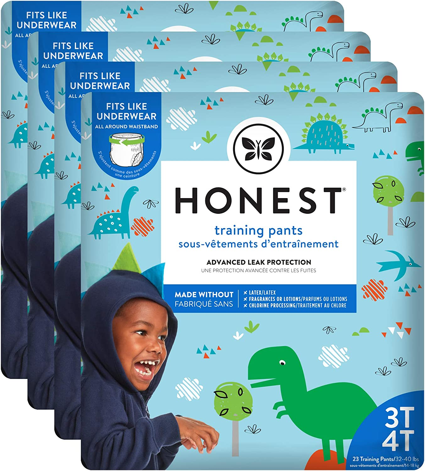 The Honest Company Toddler Training Pants | Dinosaurs | 3T/4T | 92 Count | Eco-Friendly | Underwear-Like Fit | Stretchy Waistband & Tearaway Sides | Perfect for Potty Training