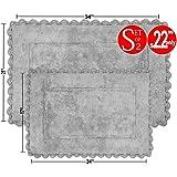 Value Homezz ( 2 Piece Bathmat Set ) Indy 100% Super Soft Cotton Tufted Accent Bath Rugs Size 21 x 34 / 17 x 24 Non Skid High Absorbency & Durable Machine washable Bath Mat (Grey)