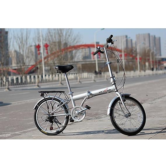 "Review unYOUsual U transformer 20"" Folding City Bike Bicycle 6 Speed Shimano Gear Steel Frame Mudguard Rear Carrier Silver"