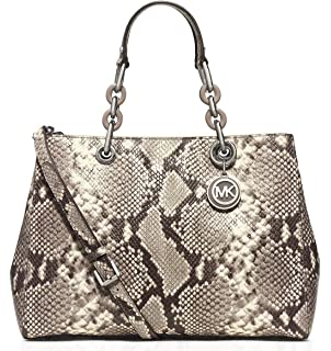 f460bf1ac68b9 Michael Kors Blakely Snake Embossed Leather Medium Bucket Bag Purse ...