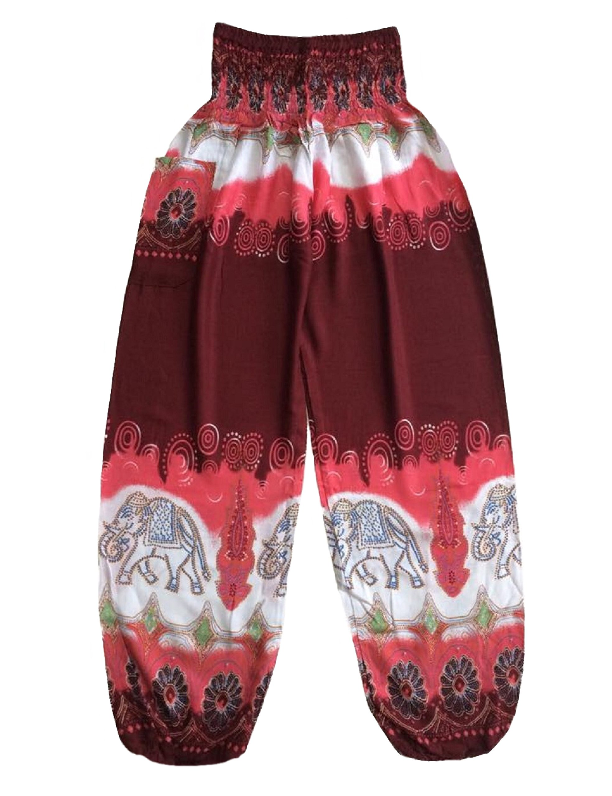 Love Quality Red Batik Style Elephant Pants One Size