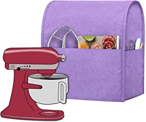 Luxja Dust Cover Compatible with 4.5-Quart and 5-Quart KitchenAid Mixers, Cloth Cover with Pockets for KitchenAid Mixers and Extra Accessories, Lavender