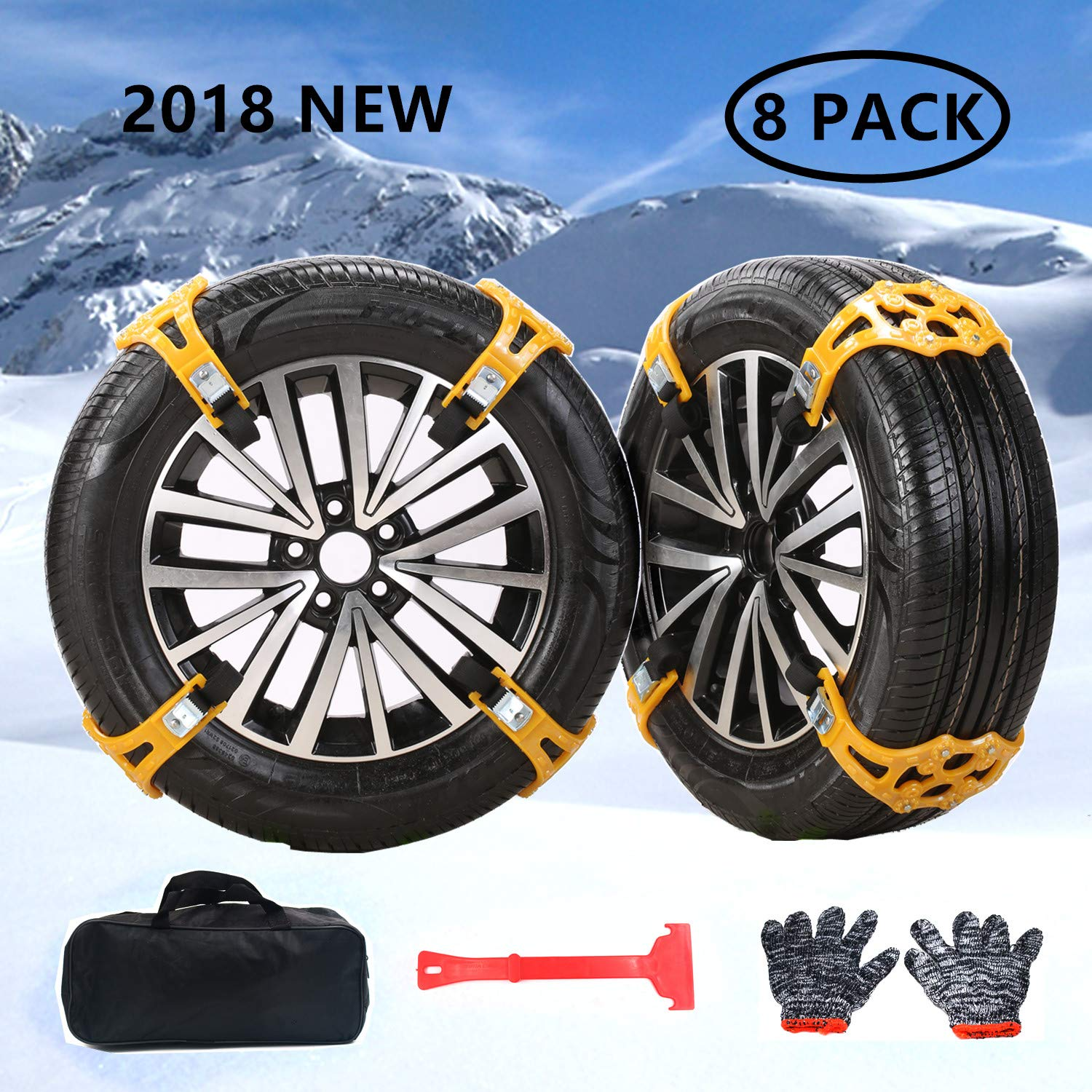 Universal Snow Tire Chains for Cars Light Trucks SUV Sedan Family Automobiles ATV with Update TPR Material for Emergency, Ice Snow Mud SandApplicable,Tire Width 165-275mm/6.5-10.8in(8 Pack) Ease2U Direct