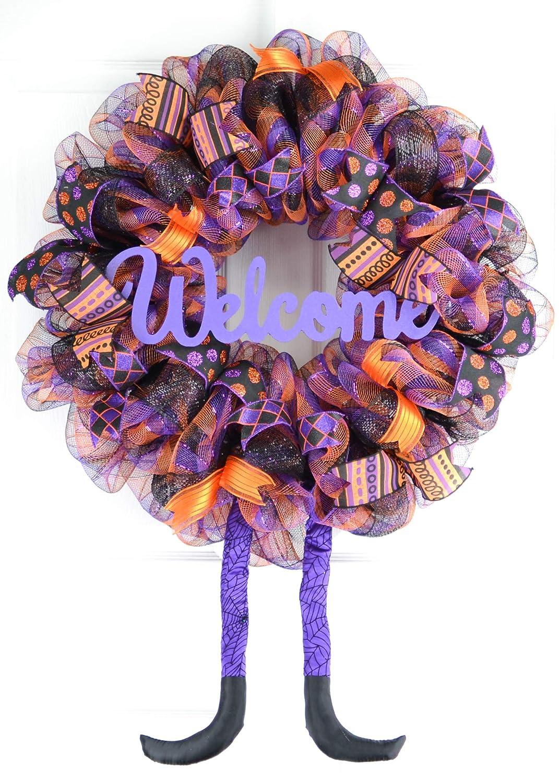 wreath for front door Halloween Witch wreath for front door Halloween Wreath for front door Purple Deco Mesh Halloween Wreath for door