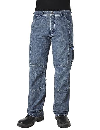 PIONIER WORKWEAR Herren Casual Jeans mit Zollstocktasche in blau