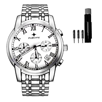 Amazon.com: Reloj cronómetro de cuarzo de acero inoxidable ...