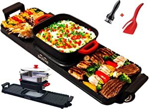 SKAIVA Hot pot with grill - 3 in 1 Multi-functional electric indoor grill with hot pot and steamer - Removable Hot Pot - tabletop Korean grill indoor electric Teppanyaki grill - Detachable Hot pot Korean bbq grill electric indoor shabu shabu hot pot electric and grill electric Kbbq grill - Latest Model extra large grill includes 2 gift