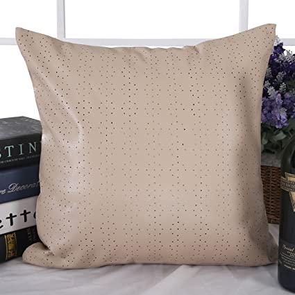 Amazon Deconovo Decorative Dot Perforated Pattern Solid Faux Amazing Faux Leather Pillows Decorative Pillows