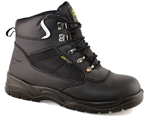 Grafters Mens Leather Safety Jontex Waterproof Ankle Lace Up Work Boots  Shoes Size 6-13