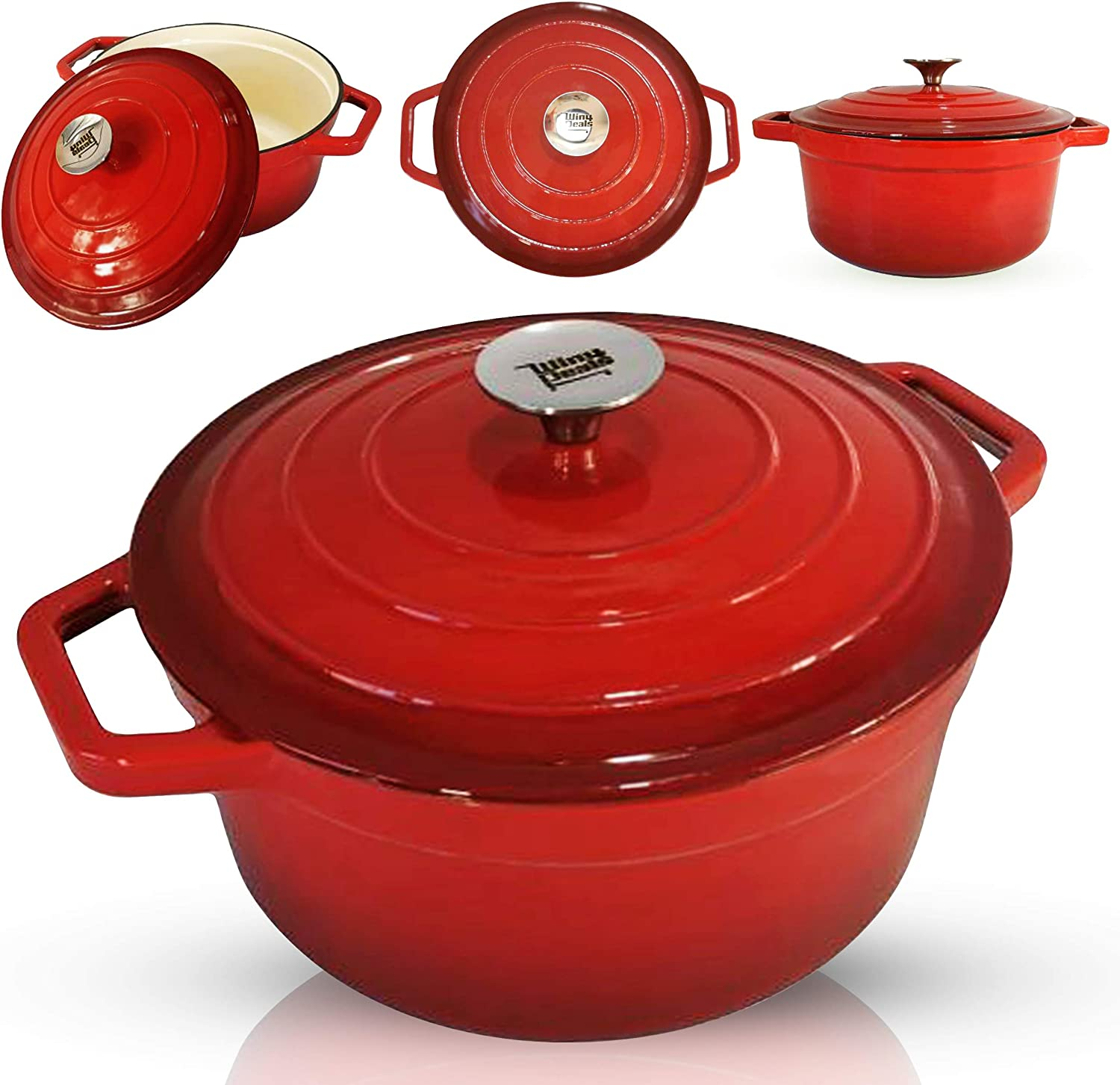 4- Quart Enameled Cast Iron Dutch Oven - Even Heat Distribution and Retention, Easy to Clean Surface, Pre-seasoned Cast Iron Enameled Cookware, Healthy Cooking, Red